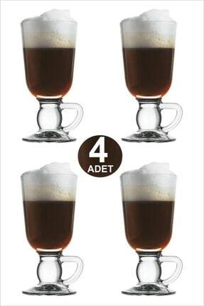 Paşabahçe 4'lü Ayaktan Kulplu Cam Latte Cappuccino Macchiato Nescafe Meşrubat Bardağı Irish Coffee Kupası