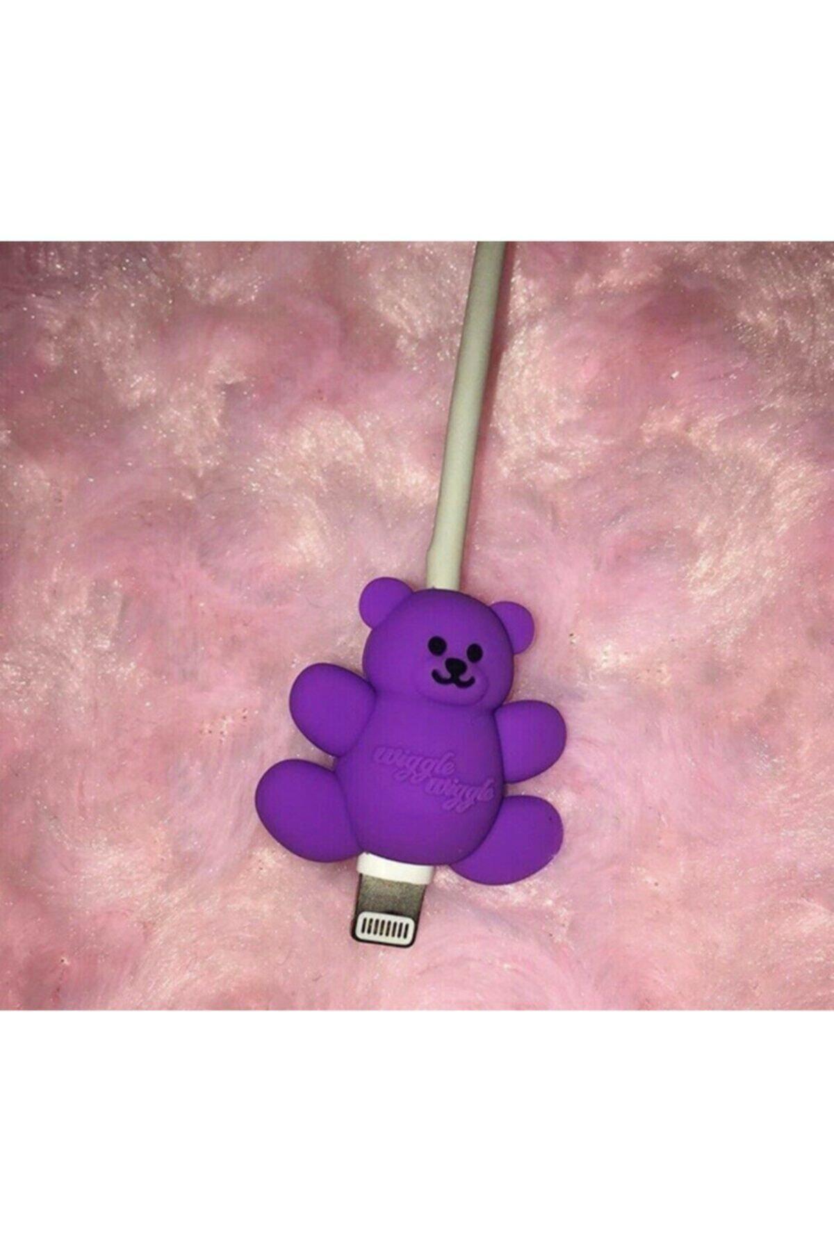 Telehome Sevimli Silikon Kablo Koruyucu Purple Bear 1