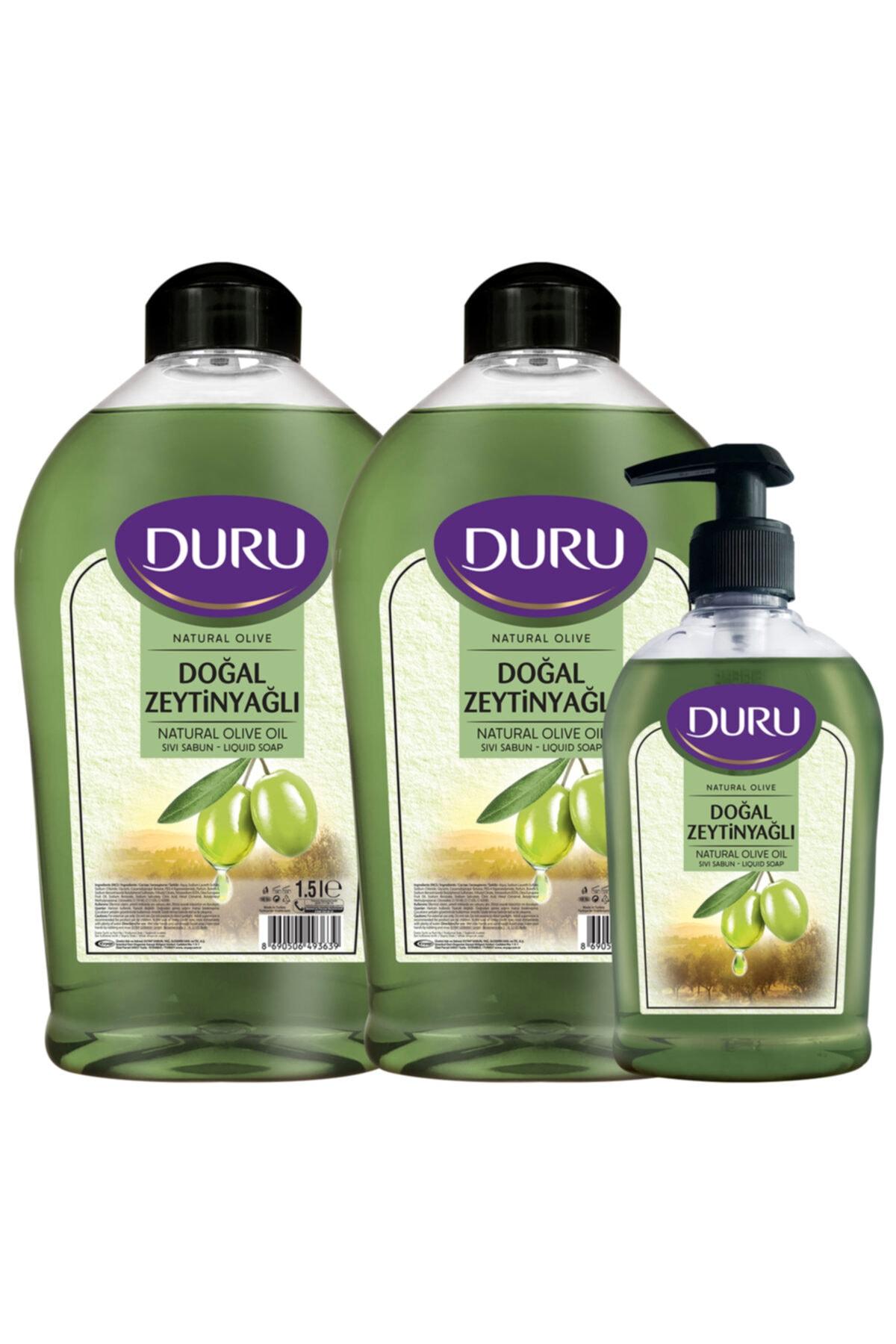 Duru Natural Olive Zeytinyağlı Sıvı Sabun 1,5+1,5+300ml 1