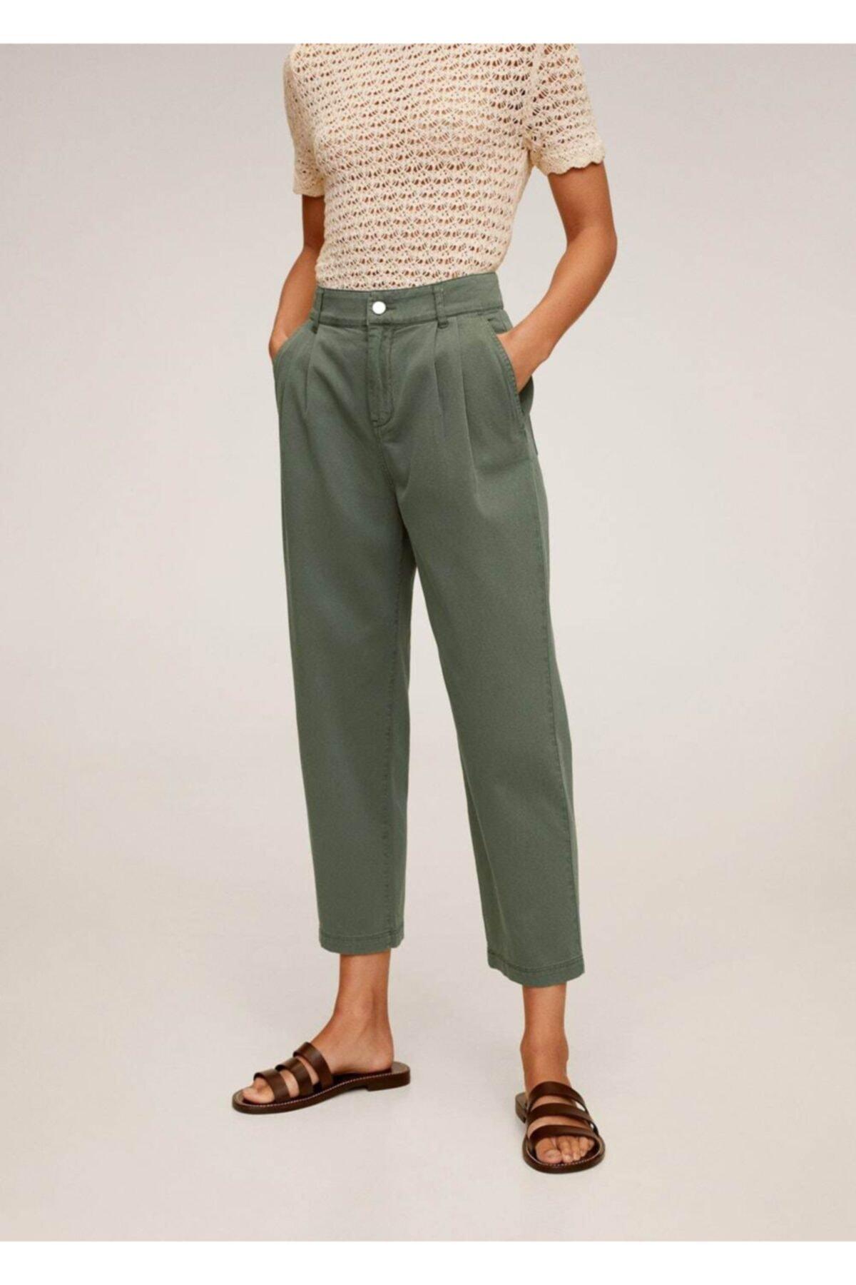 MANGO Woman Kadın Yeşil Rahat Koton Pantolon 67037664 2
