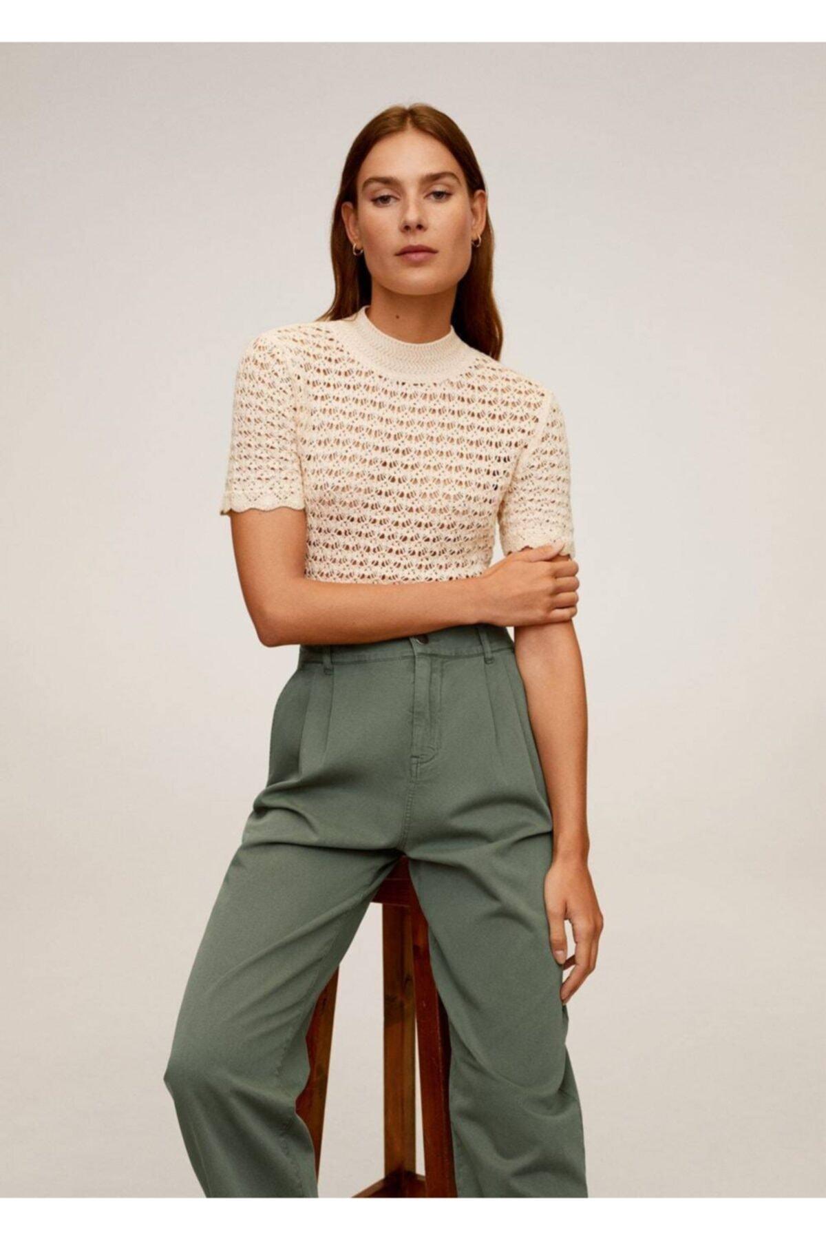 MANGO Woman Kadın Yeşil Rahat Koton Pantolon 67037664 1