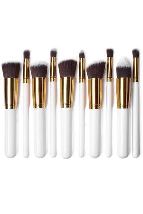 Gold Beauty Beauty Makyaj Fırça Seti - 10'lu Beyaz