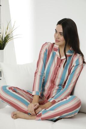 Siyah İnci Kadın Pamuklu Likralı Düğmeli Biyeli Pijama Takım