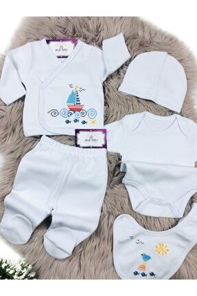 Ciccim Baby Unisex Bebek Beyaz Yelken İşlemeli 5'li Zıbın Seti