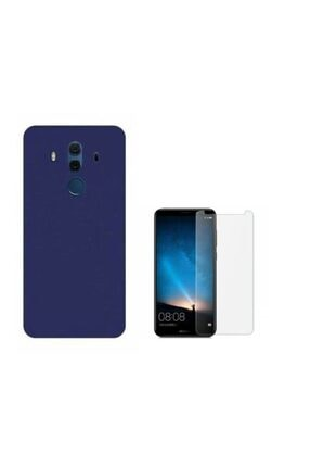 Huawei Teleplus Mate 10 Pro Silikon Kılıf Lacivert + Nano Ekran Koruyucu