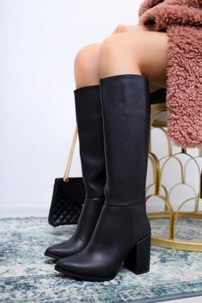 Limoya Ann Siyah Sivri Burunlu Kalın Topuklu Çizme