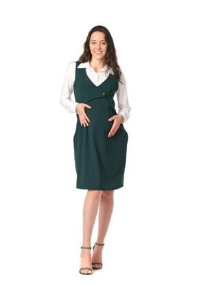 BUSA Kadın Yeşil Hamile Günlük Elbise Klasik Jile