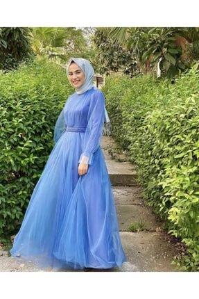 Loreen Kadın İndigo Kemerli Hayal Tül Abiye Elbise