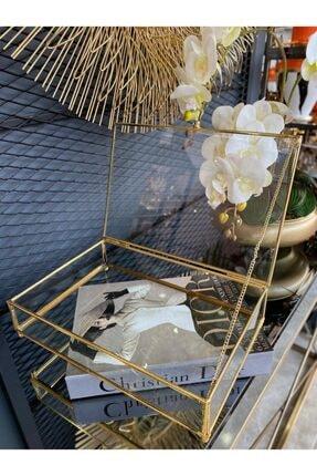 TASARIMHMODA Büyük Gold Cam Takı Kutusu Makyaj Organizeri