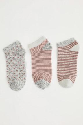 DeFacto Kadın  Rose Desenli 3'Lü Patik Çorap N0577AZ21SP