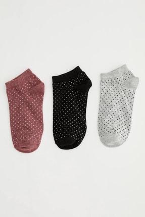 DeFacto Kadın  Rose Melange Desenli 3'Lü Patik Çorap. N0560AZ21SP