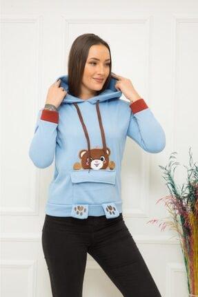 TREND Kadın Mavi Ayıcıklı Sweatshirt