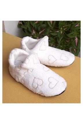 GEZER 3124 Beyaz 3124 Kadın Panduf Ev Ayakkabısı Ses Yapmayan Taban 3124