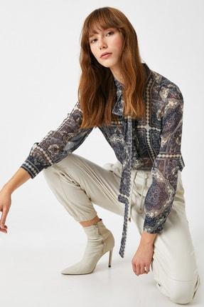 Koton Kadın Lacivert Desenli Bluz 1KAK68733CW