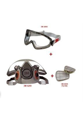 3M 6200 Yarım Yüz Maskesi Filtreli + 2890 Koruma Gözlüğü
