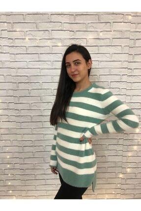 EREN Kadın Yeşil Çizgili Sakallı Tunik