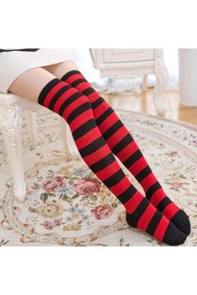 Cindiy Kadın Kırmızı Siyah Parfüm Kokulu Diz Üstü Çorap