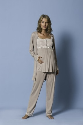MONAMİSE Kadın 18207 3 Lü Pijama Tk. Ham. Vizon