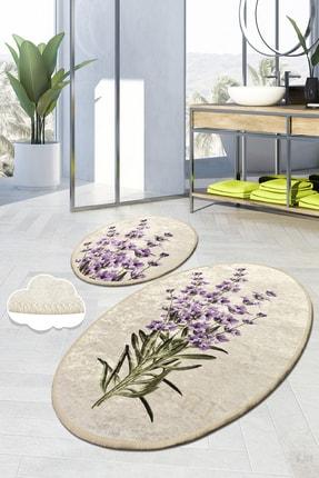 Chilai Home Lavender Dijital 2'li Set Klozet Takımı Banyo Paspas Seti Halısı