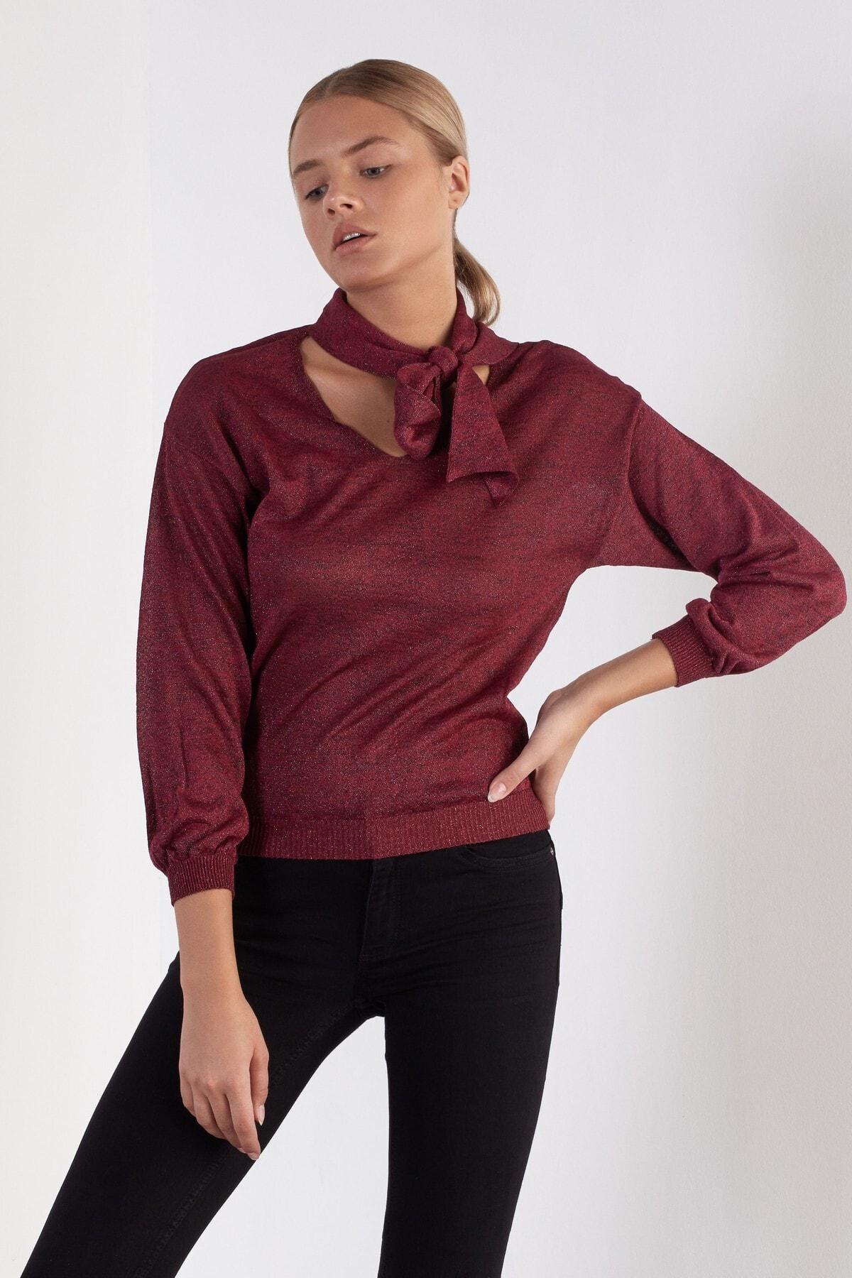 JOIN US Kadın Bordo Bağlama Yaka Simli Triko Bluz 1