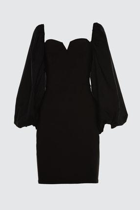 TRENDYOLMİLLA Siyah Balon Kollu Elbise TPRSS21EL0192
