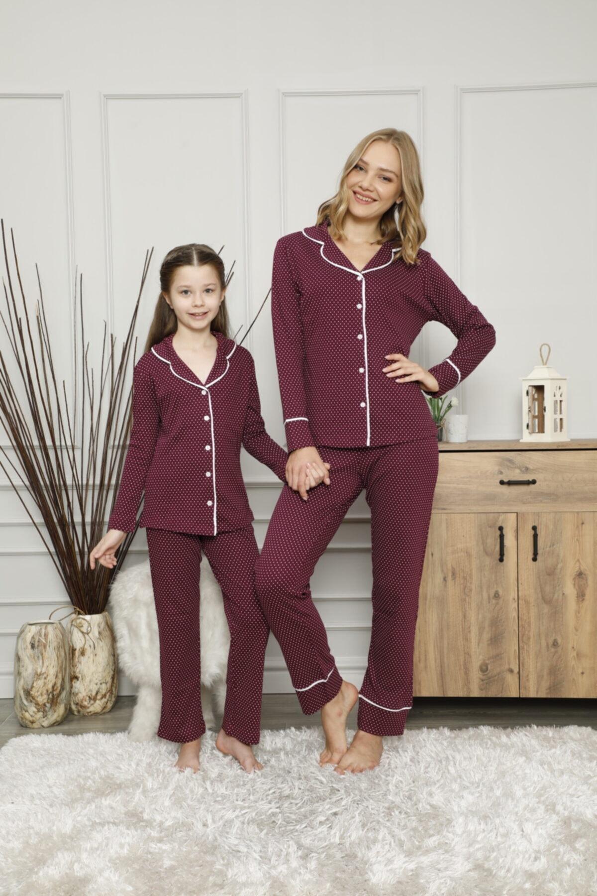 KILIÇ TEKSTİL Anne Kız Puantiyeli Pijama Takımı Kombini Interlok Kumaş 1