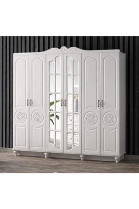 güney mobilya Beyaz Komple Mdf 6 Kapaklı Gardırop