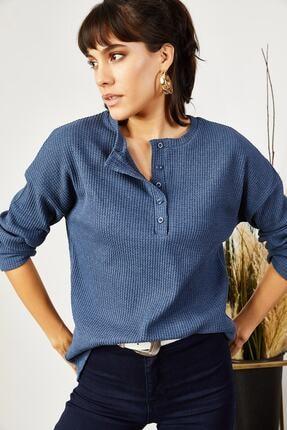 Olalook Kadın İndigo Düğmeli Petek Salaş Bluz BLZ-19000703