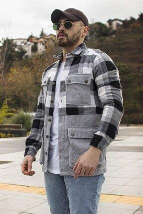 Moda Fethi Erkek Siyah Beyaz Çok Cepli Oduncu Ceket