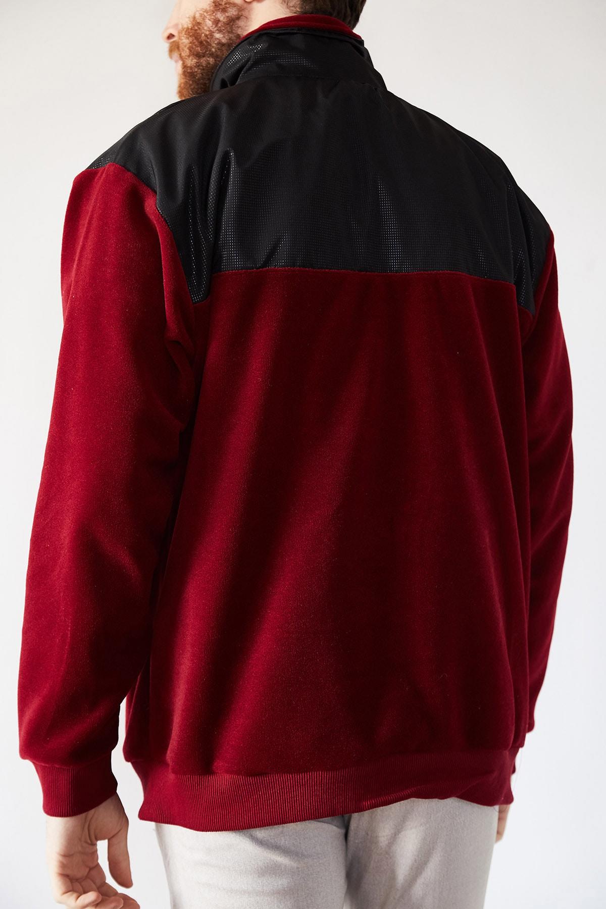 XHAN Erkek Bordo Deri Garnili Polar Sweatshirt 1kxe8-44233-05 2