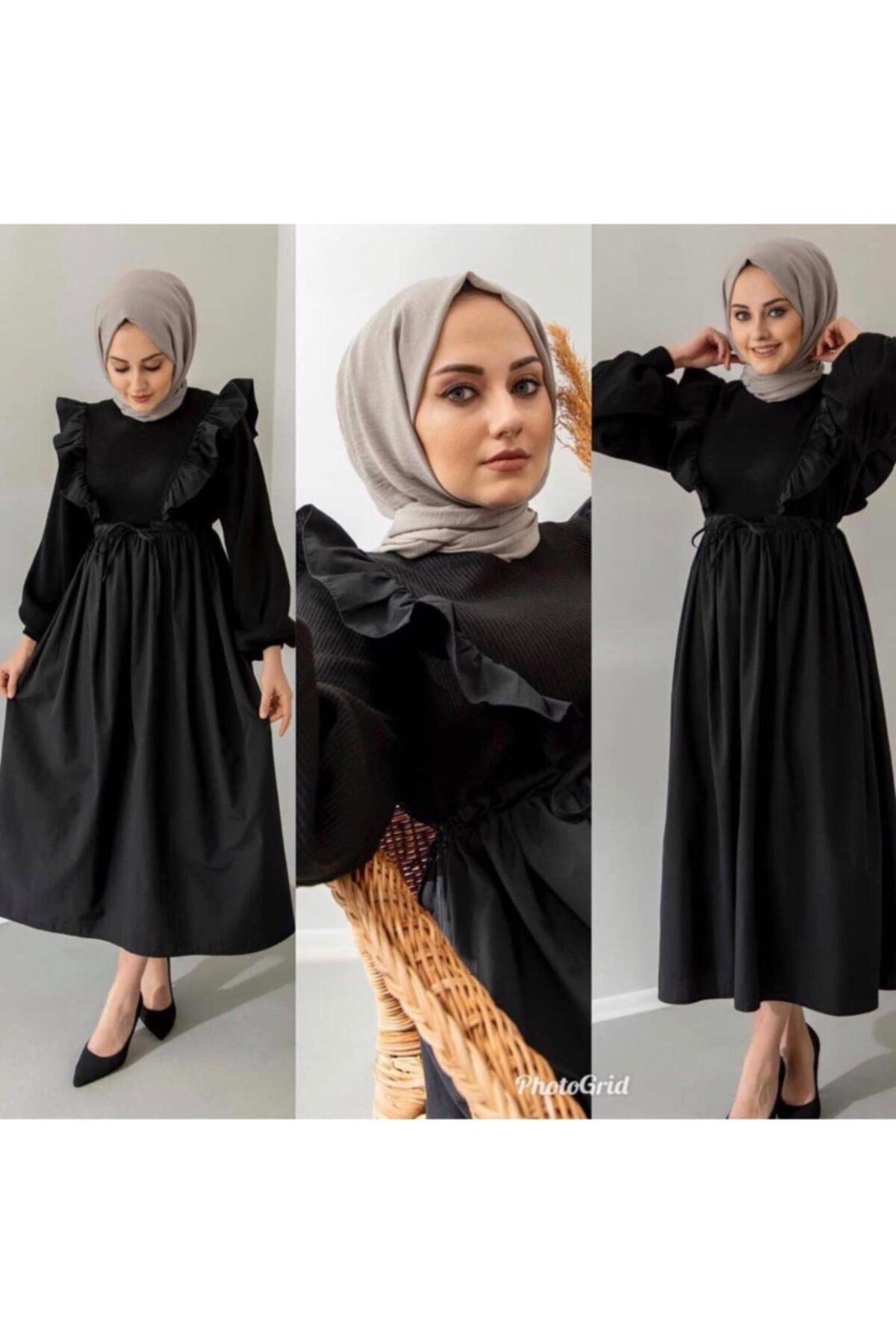 ENDERON Kadın Siyah Büzgülü Triko Elbise 2