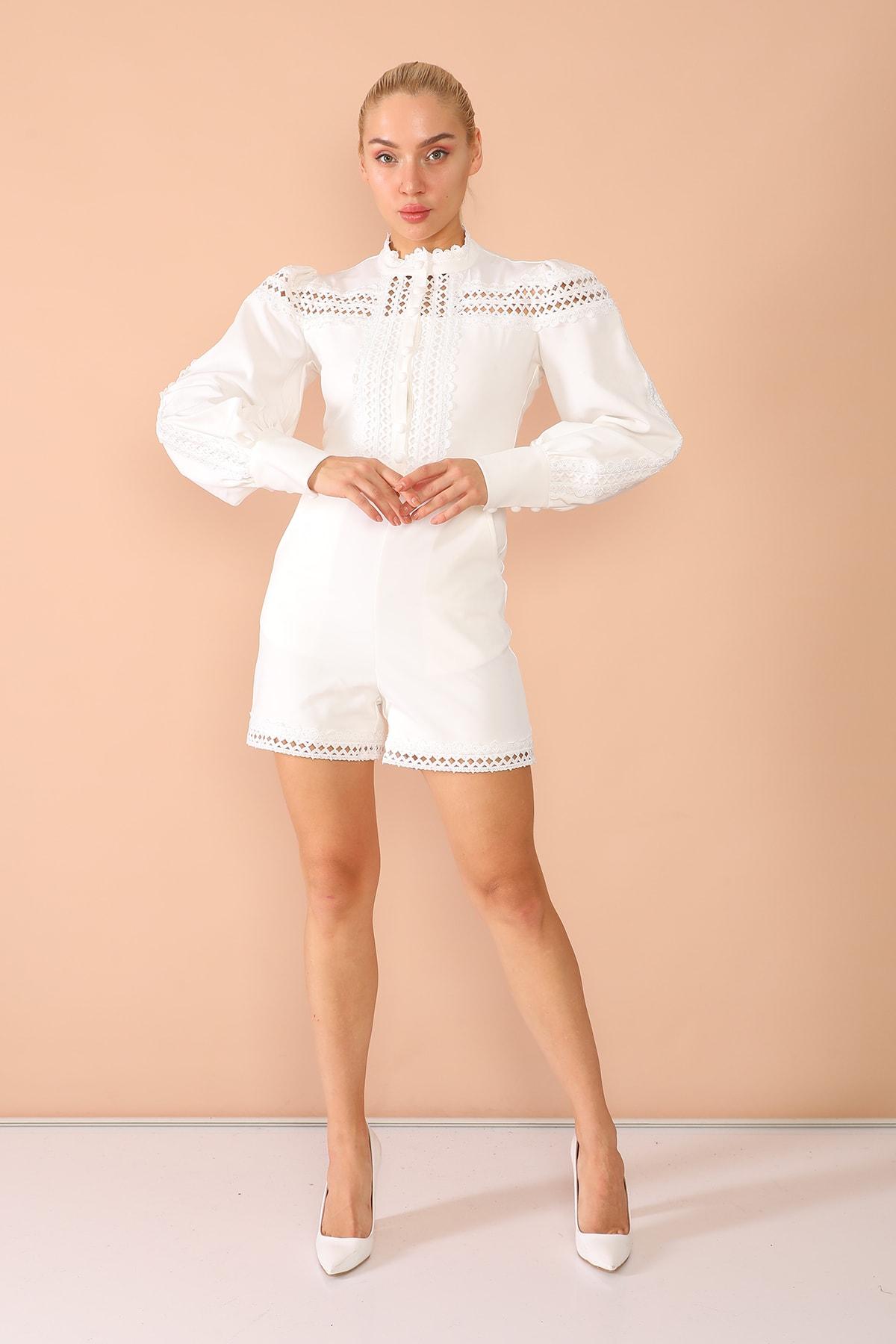 nobisis Kadın  Beyaz  Dantel Dügme Detaylı Elbise-1026b 1