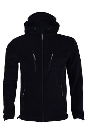 GHASSY CO. Erkek Siyah Army Tactical Kapüşonlu Outdoor Polar Ceket
