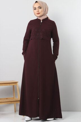 Tesettür Dünyası Nakışlı Elbise Tsd2510 Mürdüm