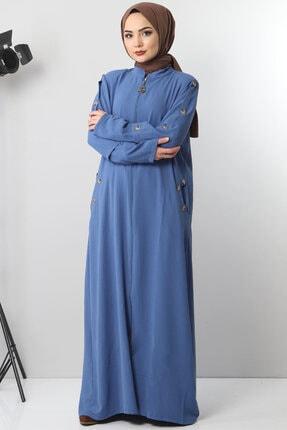 Tesettür Dünyası Büyük Beden Kolları Düğmeli Ayrobin Elbise Tsd8889 Indigo