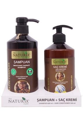 Naturix 2'li 600 Ml Doğal Keratin Bakım Şampuanı Natural Şampuan 500 ml Keratin Bakım Saç Kremi