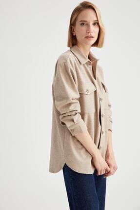 DeFacto Kadın Ekru Oversize Gömlek Ceket