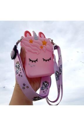 MİSSİNG Kız Çocuk Pembe Silikon Unicorn Tasarım Omuz Çanta