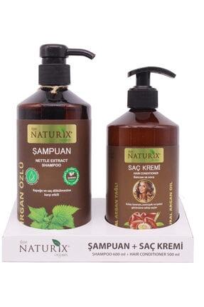 Naturix 2'li Doğal Isırgan Otu Özlü 600 ml Saç Bakım Şampuanı + 500 ml Natuirx Argan Yağlı Saç Kremi