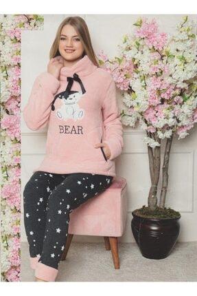 Sude Kadın Ayıcık Desenli Boğazlı Üstü Peluş Pijama Takımı