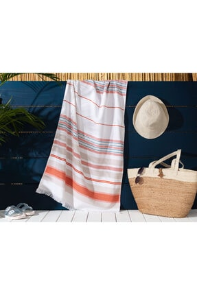 Madame Coco Rauna Armürlü Plaj Havlusu - Turuncu - 75x150 Cm