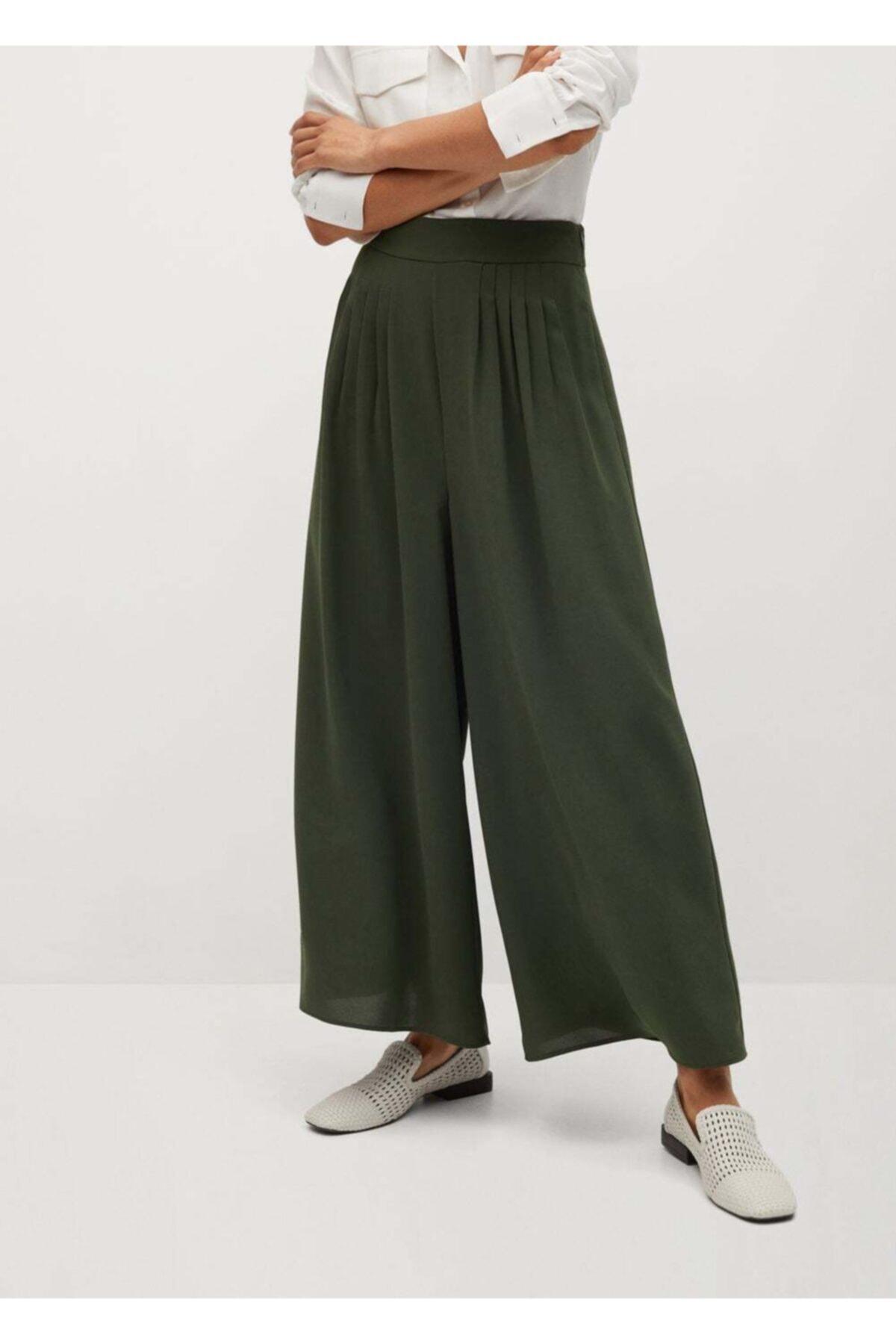 MANGO Woman Kadın Yeşil Pantolon 2