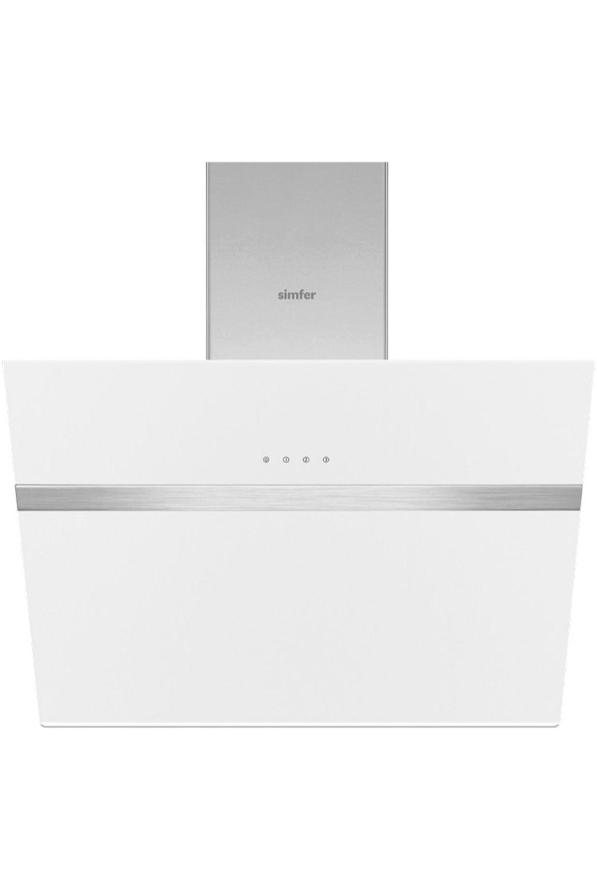 Simfer 8612 60 cm Beyaz Eğik Cam Davlumbaz-Touch Kontrol 1