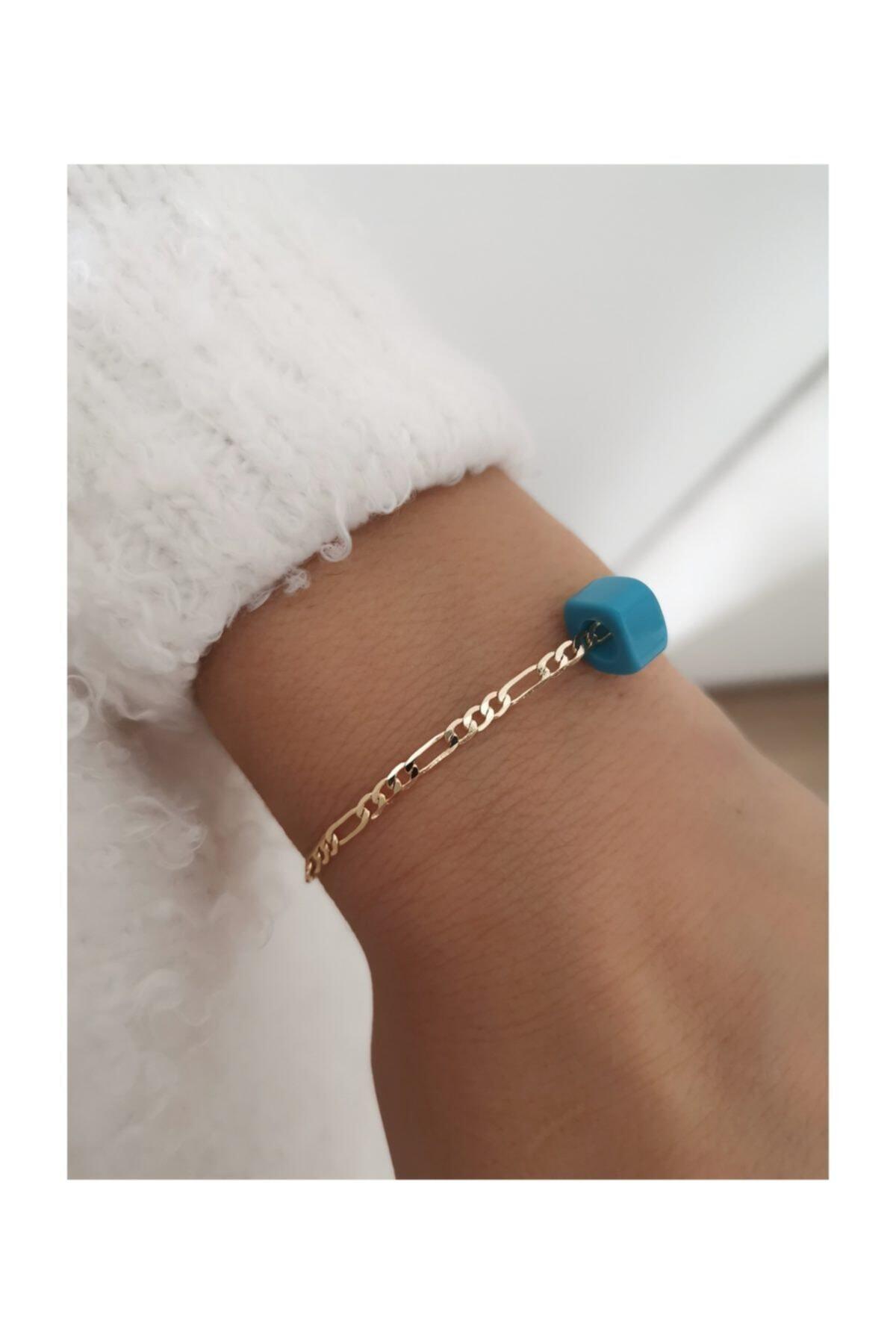 X-Lady Accessories Kadı Mavi Boncuklu Nostalji Altın Sarısı Zincir Bileklik 1