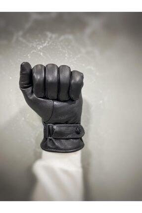 EŞSİZ Erkek Siyah Hakiki Deri Polarlı Tokalı Eldiven