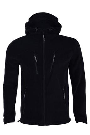 GHASSY CO. Erkek Siyah Army Tactical Polar Kapüşonlu Ceket