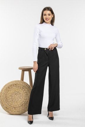 Nisan Triko Kadın Siyah Bol Paça Pantolon