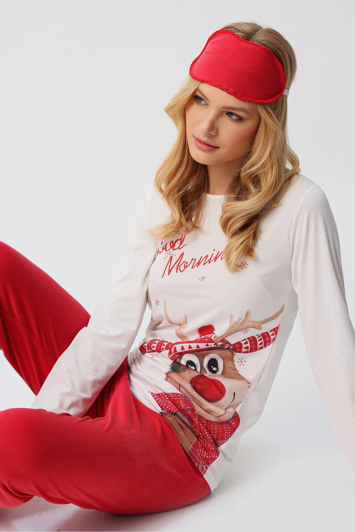 Trend Alaçatı Stili Kadın Beyaz Uyku Bantlı Bisiklet Yaka Geyik Baskılı Pijama Takım ALC-X5541 1