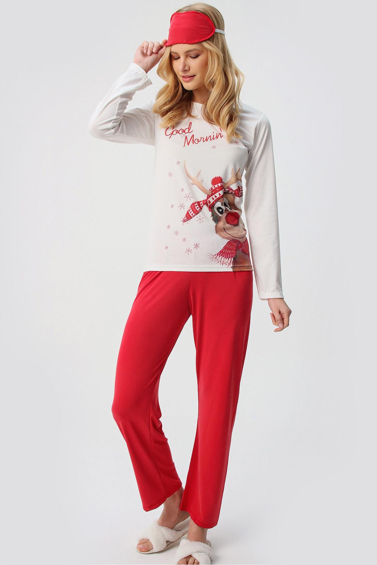 Trend Alaçatı Stili Kadın Beyaz Uyku Bantlı Bisiklet Yaka Geyik Baskılı Pijama Takım ALC-X5541 2