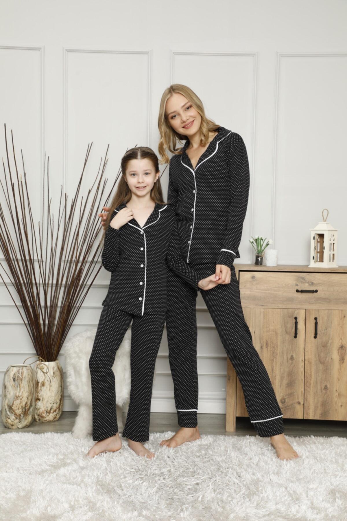 KILIÇ TEKSTİL Anne Kız Siyah Puantiyeli Pijama Takımı Kombini 1